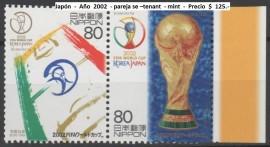 Japón  -  Año  2002  - Mundial de Fútbol - pareja se –tenant  - mint