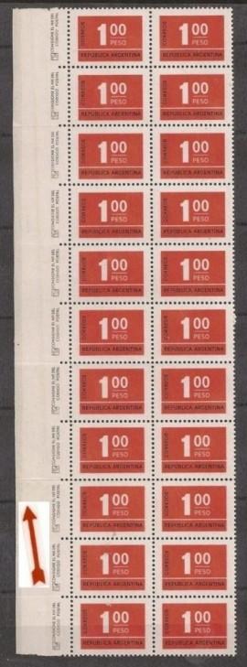 Bloque de sellos mint  borde hoja neutro defecto encapado, Cifra 1 peso.