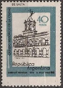 Sello usado, Cabildo de Salta 40 pesos, neutro