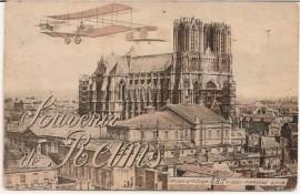 Postal francesa, Reims a Buenos Aires - Biplano sobre Notre Dame