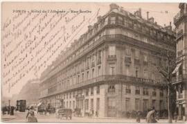 Postal Circulada, Roma - Torino. Dibujo Grand Hotel París - Carruajes