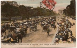 Tarjeta postal, París - Buenos Aires. 1923 - Mat. Exposición - Automóviles