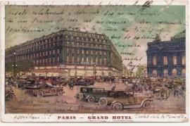 Tarjeta postal, París a Montevideo, 1921 - carruales hacia  Arc de Triomphe