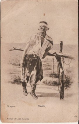 Tarjeta postal uruguaya.  Dibujo de un gaucho al palanque - 1905