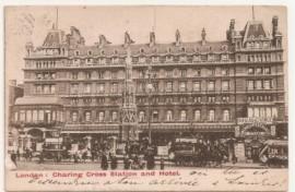 Tarjeta postal inglesa, Londres a Buenos Aires. 1904 - Multada Carruajes
