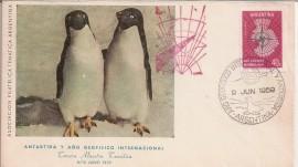 Sobre con matasello Año Geof Internacional y Antártida, con gomígrafo